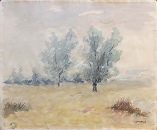 Art work by  Dominici Paesaggio di campagna  - watercolor paper