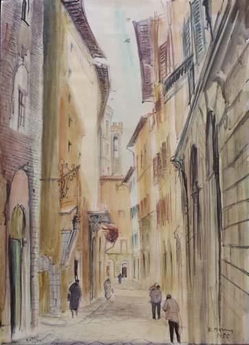 Quadro di Rodolfo Marma Via Cimatori - acquerello carta