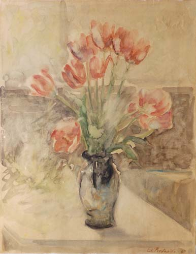 Art work by Edmondo Prestopino Vaso di tulipani - watercolor paper