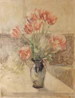 Quadro di Edmondo Prestopino - Vaso di tulipani acquerello carta