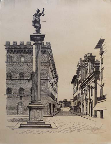 Quadro di firma Illeggibile Piazza Santa Trinita Firenze - litografia carta