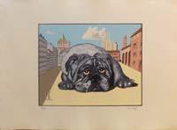Work of Dino Buzzati - Il Cagnone lithography paper