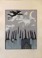 Work of Dino Buzzati - I Camini lithography paper