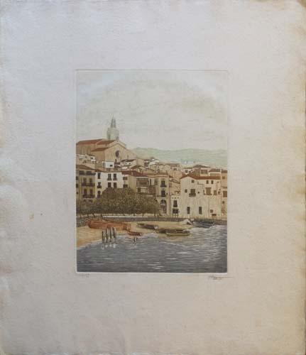 Quadro di firma Illeggibile Paesaggio sul litorale  - litografia carta