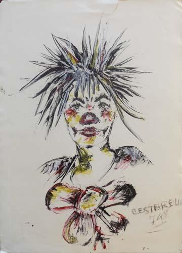 Art work by  Cestarelli  Clown - mixed cardboard