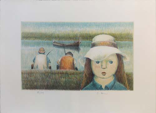 Quadro di Roberto Masi Bambina col cappello  - litografia carta