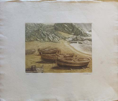 Quadro di firma Illeggibile Barche sulla spiaggia  - litografia carta