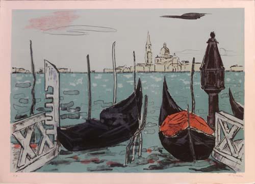 Art work by Renzo Grazzini Gondole a Venezia  - lithography paper