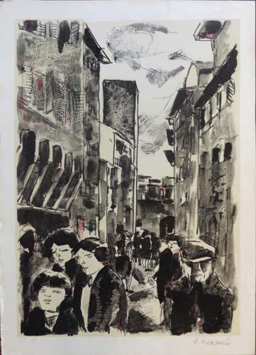Art work by Renzo Grazzini Figure a passeggio  - lithography paper