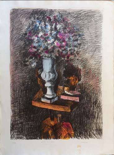 Quadro di firma Illeggibile Vaso di fiori  - litografia carta