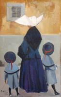 Quadro di Rodolfo Marma  Monachella e bimbe