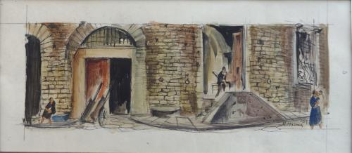 Quadro di Rodolfo Marma Angolo di piazza Peruzzi - Firenze - acquerello carta