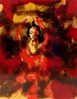 Work of  Kocevar - Figura danzante in rosso enamel table
