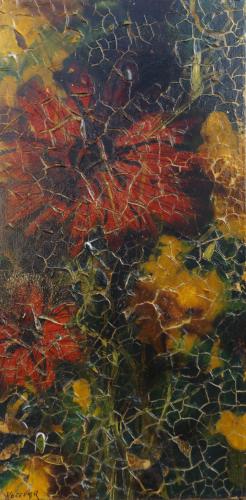 Quadro di  Kocevar Fiori dai petali rossi - smalto tavola