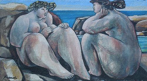 Quadro di Franco Mauro Franchi Figure sugli scogli  - olio tela