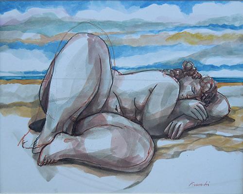 Quadro di Franco Mauro Franchi Nudo addormentato - acquerello carta