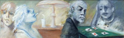 Quadro di Umberto Bianchini Figure al tavolo da gioco - olio tavola