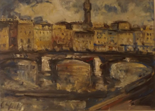 Art work by Emanuele Cappello Ponte sull'Arno - Firenze - oil canvas