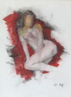Quadro di Gino Tili  Nudo su sfondo rosso