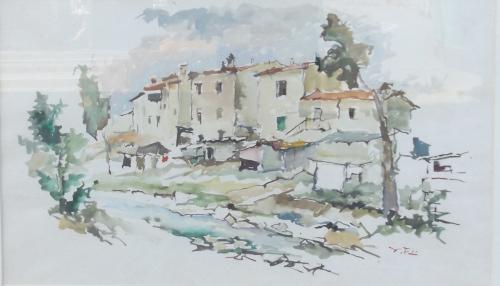 Quadro di Gino Tili Paesaggio di case  - acquerello carta