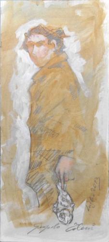 Quadro di Giampaolo Talani Pescatore , mista su cartone 37 x 17 | FirenzeArt Galleria d'arte