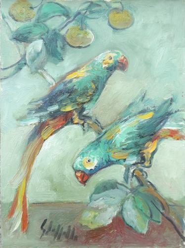 Quadro di Emanuele Cappello Pappagalli verdi  - olio tela