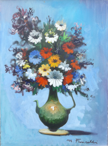Art work by Mario Fancelli  Vaso di fiori - oil canvas