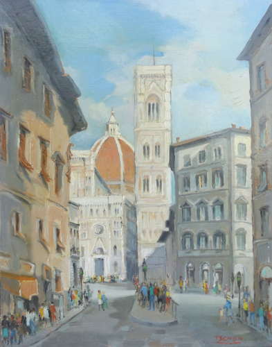 Art work by T. Schon Campanile di Giotto e Duomo di Firenze - oil hardboard