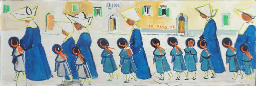 Quadro di Rodolfo Marma Monache e bimbe - olio tavola