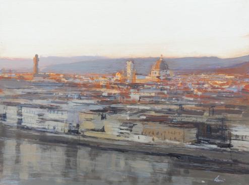 Quadro di Claudio Cionini Tramonto a Firenze - mista cartone