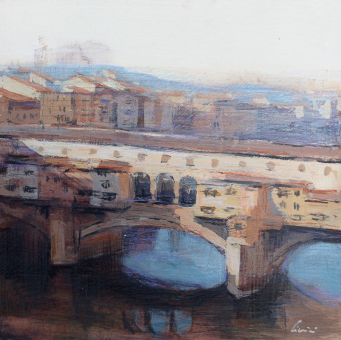 Art work by Claudio Cionini Firenze Il sole su Ponte Vecchio - mixed cardboard