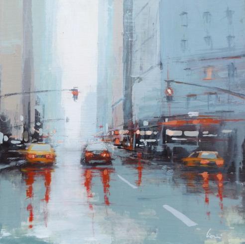 Quadro di Claudio Cionini New York dopo la pioggia  - mista cartone