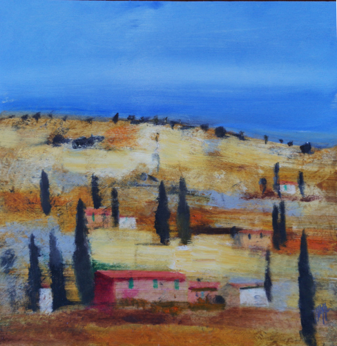 Art work by Salvatore Magazzini Campagna toscana  - oil plywood