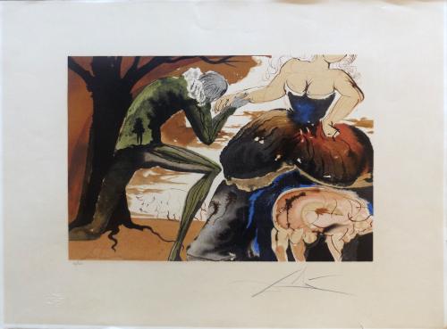 Quadro di Salvador Dalì Baciamano - litografia carta