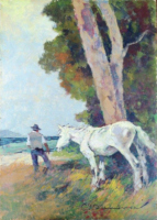 Quadro di Carlo Domenici  Cavallo bianco