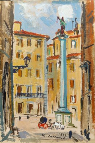 Quadro di Rodolfo Marma Piazza Santa Trinita - Firenze - olio compensato