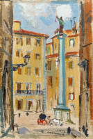 Work of Rodolfo Marma - Piazza Santa Trinita - Firenze oil plywood