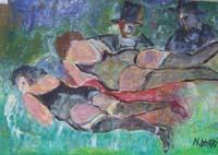 Quadro di Nada Monti - Guardoni olio tela