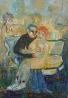 Quadro di Nada Monti - L'abbraccio olio tela