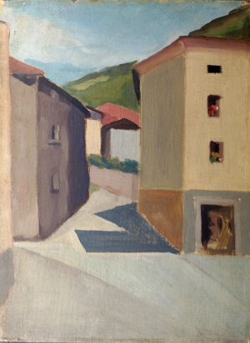 Art work by  Anonimo Strada di campagna  - oil cardboard