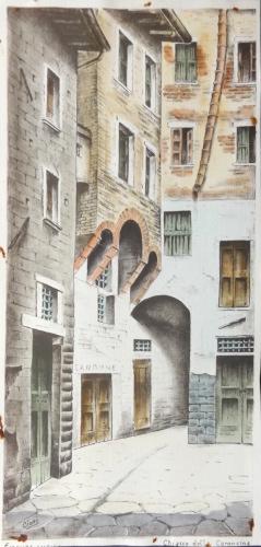 Quadro di  Cioni  Chiasso della Coroncina - Firenze antica  - acquerello carta