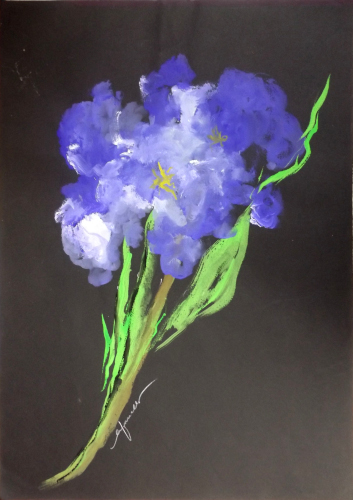 Art work by Giacinto Orfanello Fiore viola  - watercolor paper