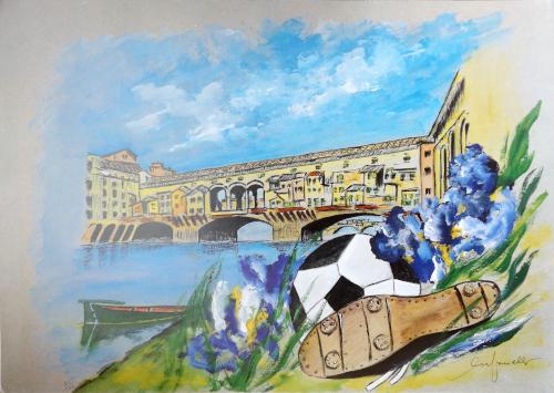 Quadro di Giacinto Orfanello Ponte Vecchio e pallone  - stampa carta