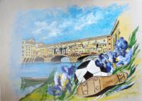 Quadro di Giacinto Orfanello  Ponte Vecchio e pallone