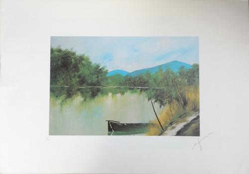 Quadro di Giacinto Orfanello Specchio d'acqua con barca  - litografia carta