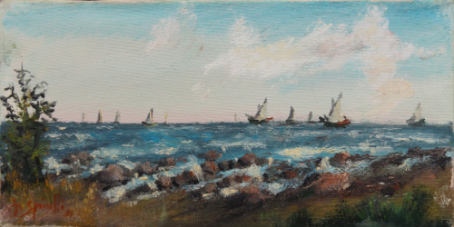 Art work by Pancrazio Spinelli Barche a vela sull'orizzonte  - oil canvas