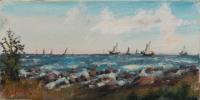 Quadro di Pancrazio Spinelli  Barche a vela sull'orizzonte