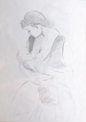 Quadro di Pancrazio Spinelli Il momento dell'allattamento - lapis carta