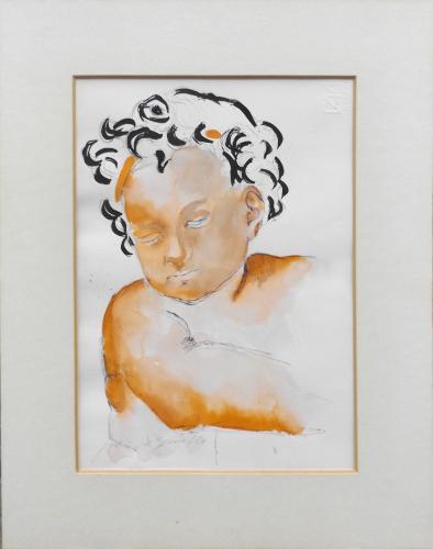 Quadro di Pancrazio Spinelli Bambino con i riccioli neri - Pittori contemporanei galleria Firenze Art