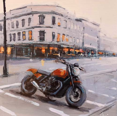 Quadro di Claudio Cionini Moto a Berlino - Pittori contemporanei galleria Firenze Art